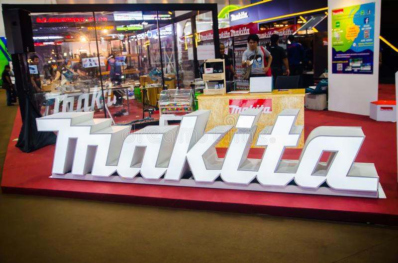 Makita is a Japanese manufacturer of power tools, the image shows exhibition booth at architect `18 expo. stock photo