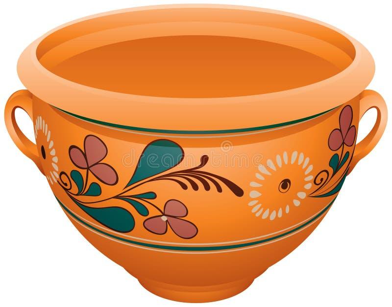 Makitra, poterie en céramique traditionnelle pour le lait, vareniki, pelmeni, pierogi illustration stock