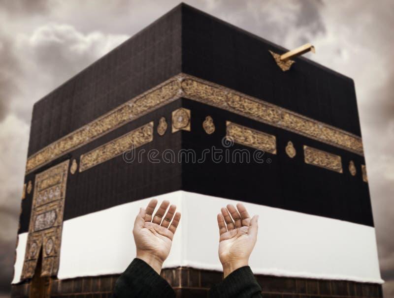 Makkah Kaaba Hajj Moslims, het bidden royalty-vrije stock afbeelding