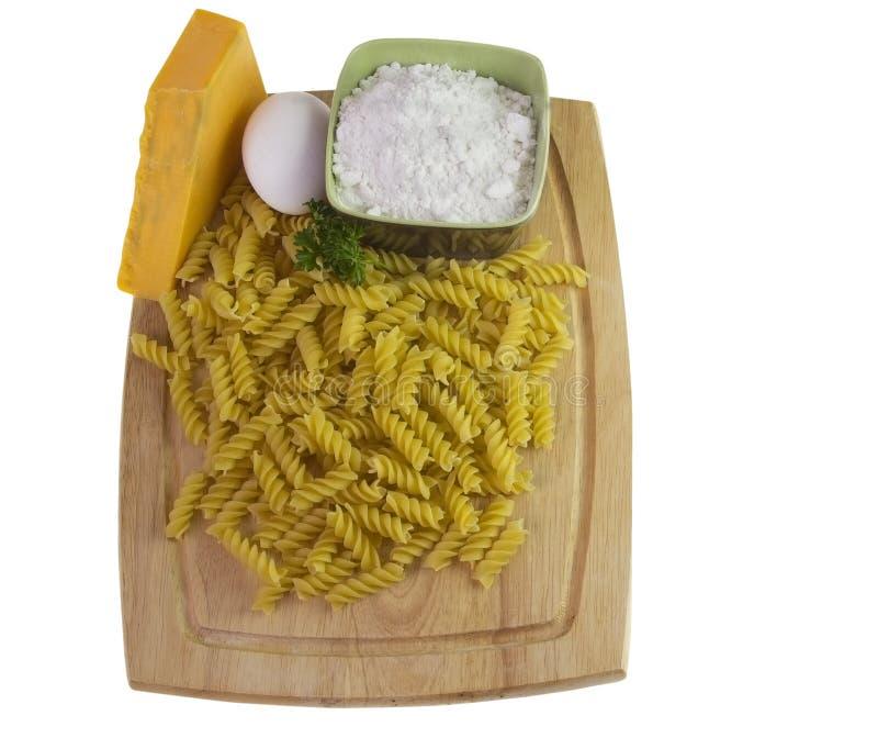 Makkaroni- und Käsebestandteile stockfotografie
