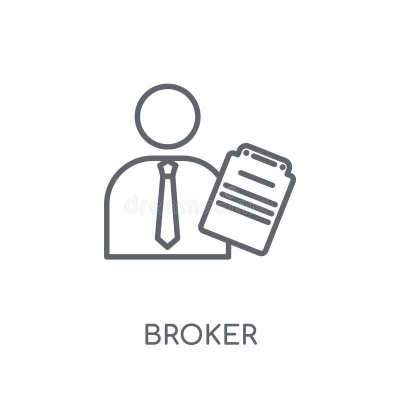 Makler liniowa ikona Nowożytny konturu maklera logo pojęcie na bielu ilustracji