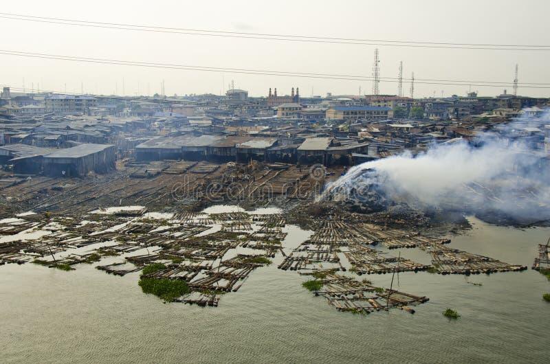Makoko渔贫民窟在拉各斯 库存图片