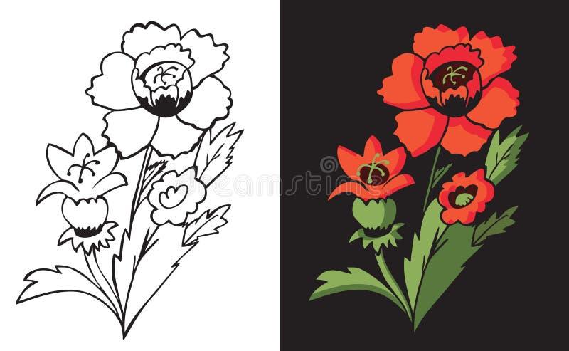 Makowy kwiat na czerni ilustracji