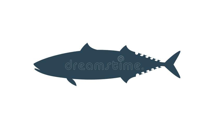 Makreelsilhouet Geïsoleerde makreel op witte achtergrond stock illustratie