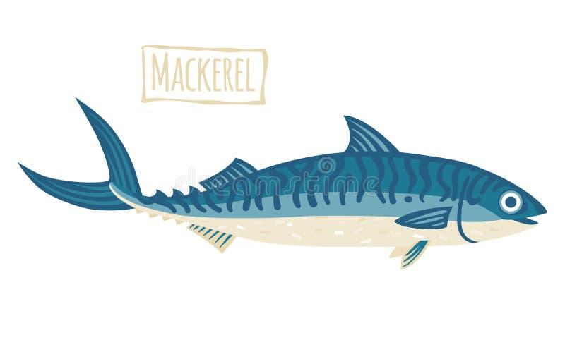 Makrela, wektorowa kreskówki ilustracja ilustracji