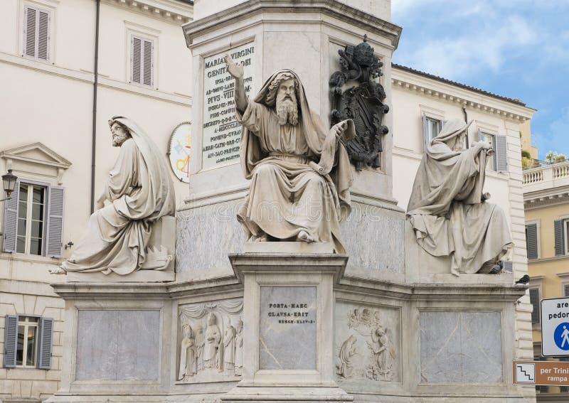 Makrelen Ezekiel door Carlo Chelli, basis van de Kolom van het Onbevlekte Ontvangenismonument, Rome stock foto