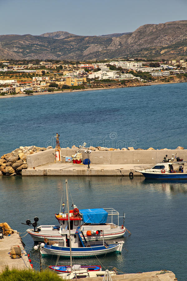 Makrigialos vissersboten stock foto's
