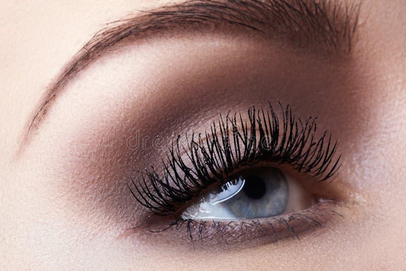Makroöga med modeljussmink, långa ögonfrans, ögonbryn fotografering för bildbyråer