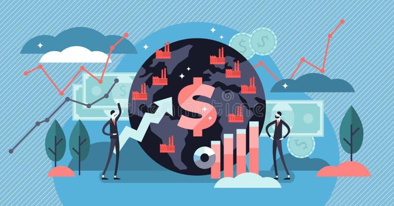 Makroökonomievektorillustration Flaches kleines Finanzdiagramm-Personenkonzept lizenzfreie abbildung