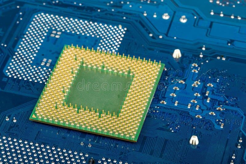 Makro av datorprocessorn på det blåa moderkortet arkivbilder