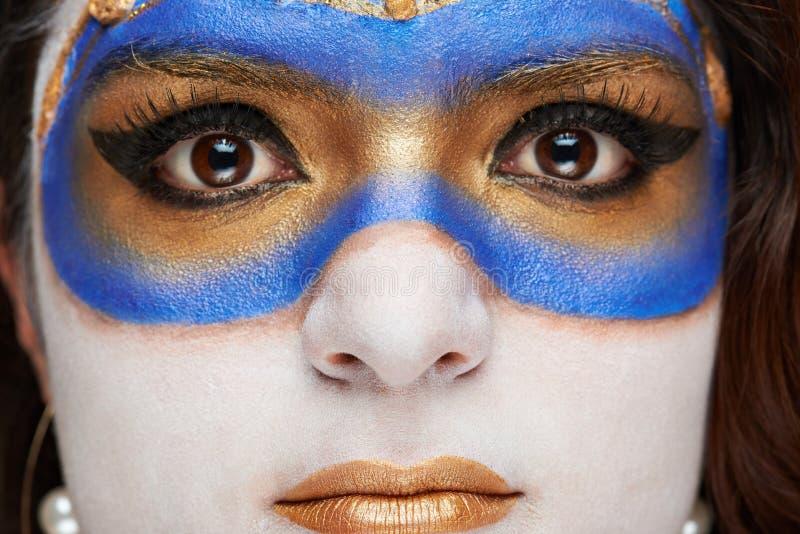 Makro av kvinnaframsidan fotografering för bildbyråer