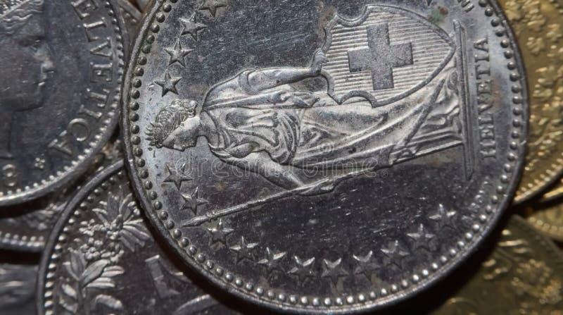 Makro av pengar (schweizisk franc fotografering för bildbyråer