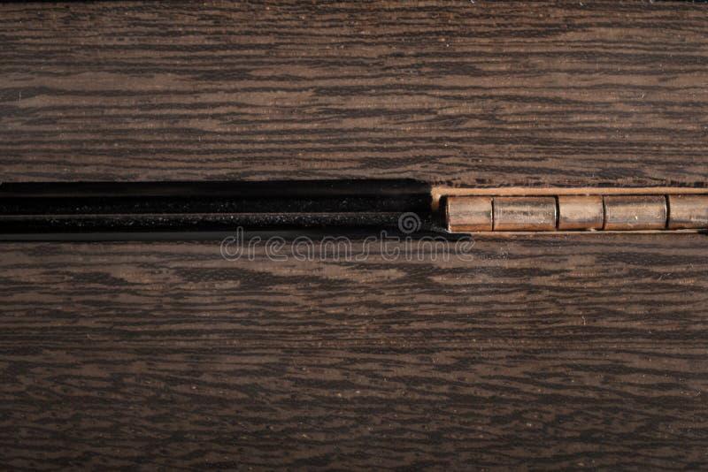 Makro av torrt trä för tappning med gångjärnbakgrund royaltyfria bilder
