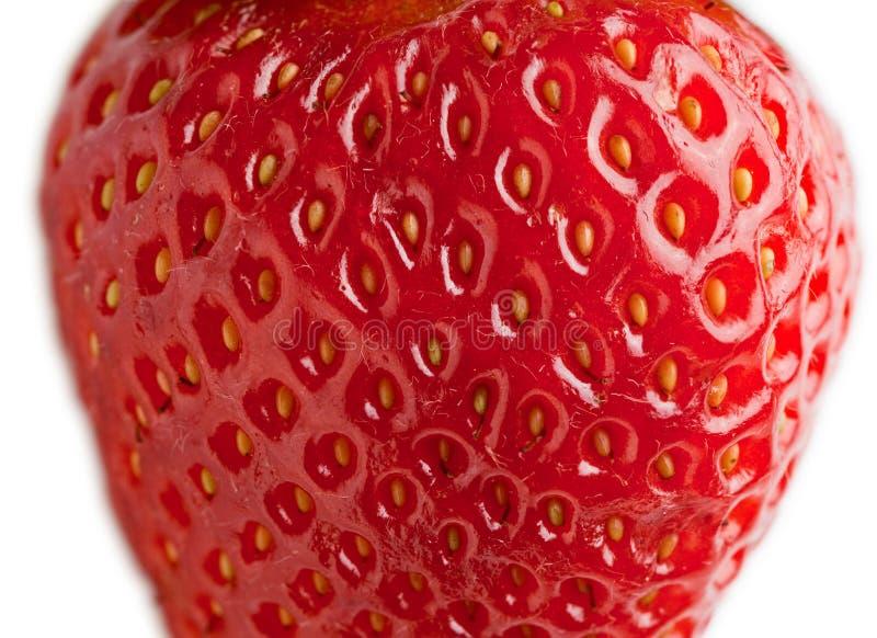 Makro der reifen Erdbeere stockfotos