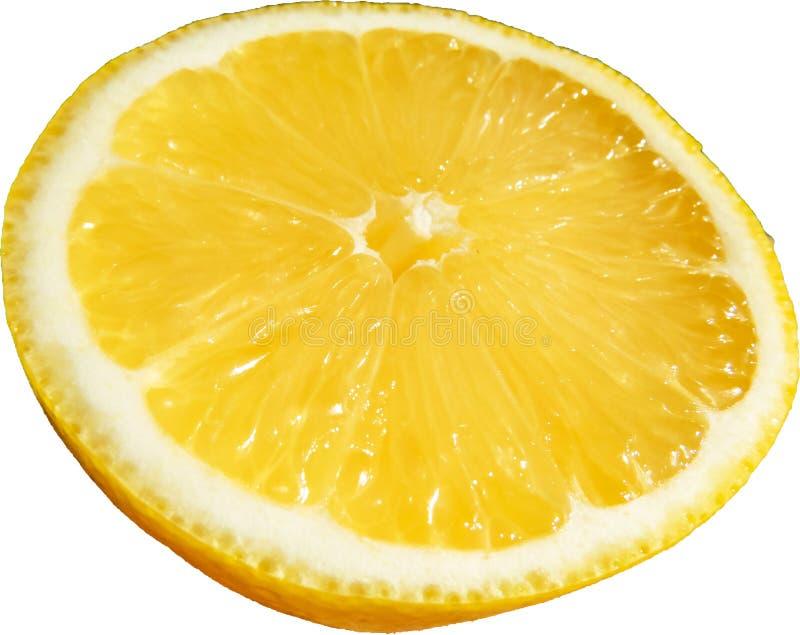 Makro einer helles Gelb geschnittenen Zitrone stockfotografie
