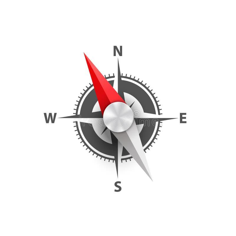 makro för bakgrundsclosekompass upp white vektor illustrationer