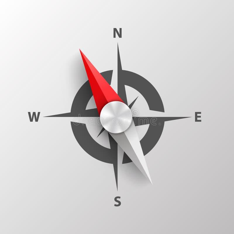 makro för bakgrundsclosekompass upp white royaltyfri illustrationer
