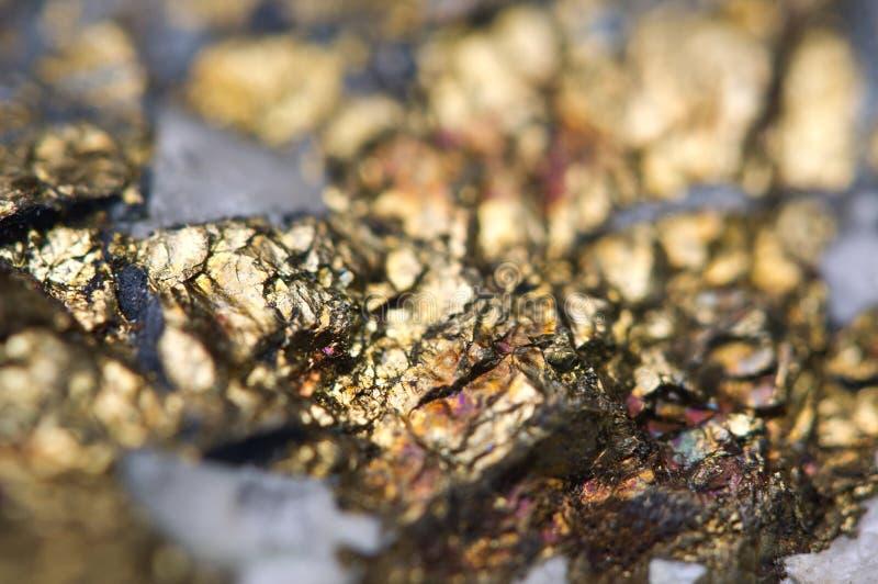 Makro för mineral för sulfid för Chalcopyritekopparjärn royaltyfri foto