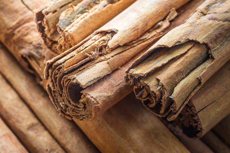 Makro, Gewürze, natürlicher Ceylon-Zimt, Stöcke, Nahaufnahme lizenzfreies stockbild