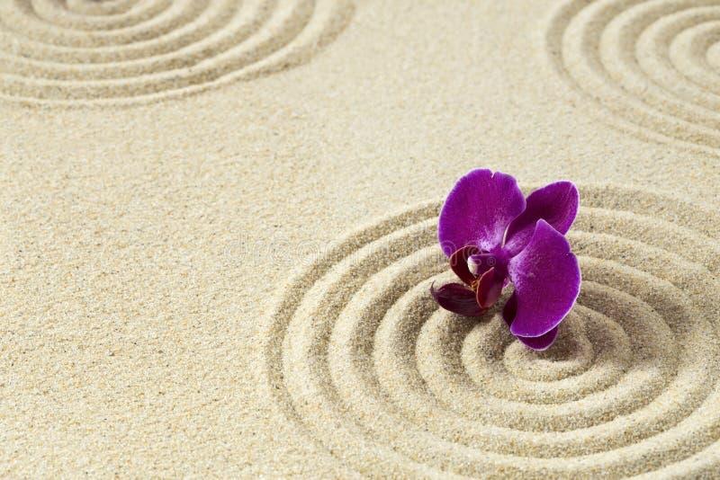 makro grabij?cy ogrodniczego piasek ryzyka trzy kamienie zen obraz stock