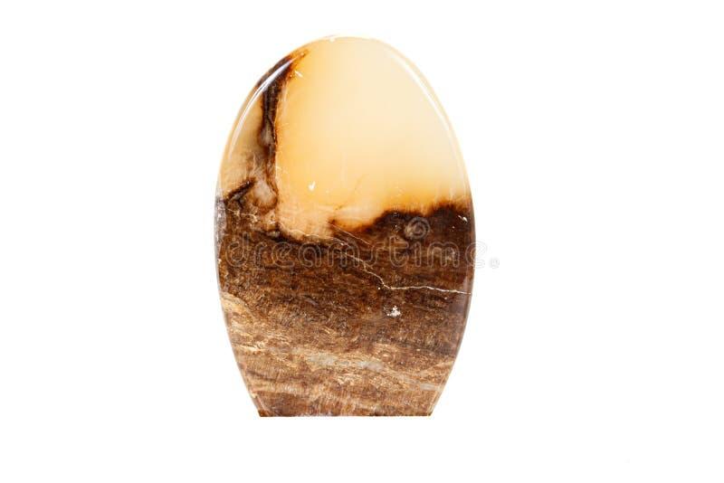 Makro- kamienny kopalina marmuru onyks na białym tle obraz stock