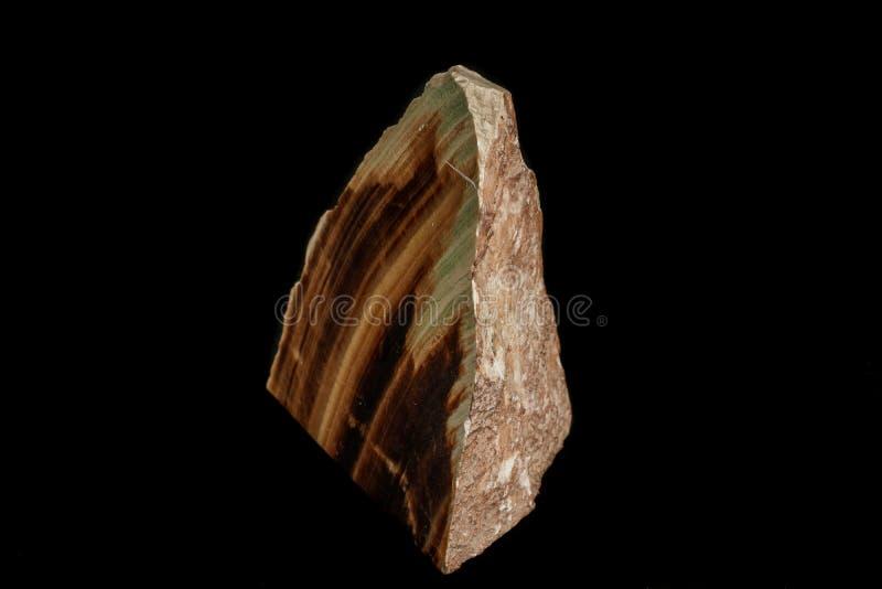 Makro- kamienny kopalina marmuru onyks na czarnym tle obraz stock