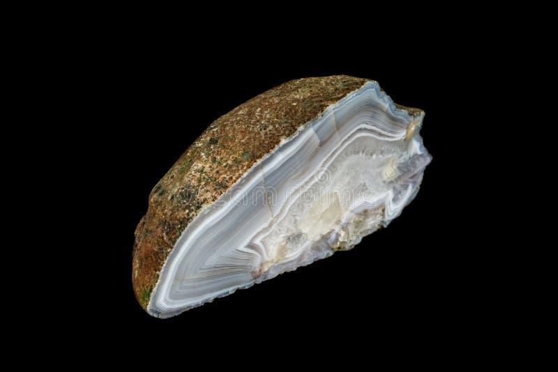 Makro- kamienny kopalny agat na czarnym tle obrazy stock