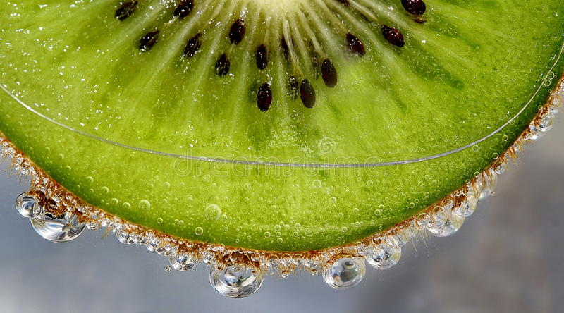 Makro- kropla na węglan zieleni obrazy royalty free