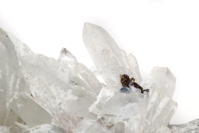 Makro- Mineral- Stein-Drusus-Quarz mit Sphalerit im Felsen a lizenzfreie stockfotografie