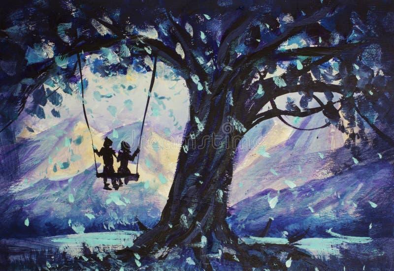 Makro- obraz bajka, abstrakci samiec i dziewczyna, jedziemy na huśtawce centrum góry narciarskie tło ilustracja rezerwować obrazy royalty free