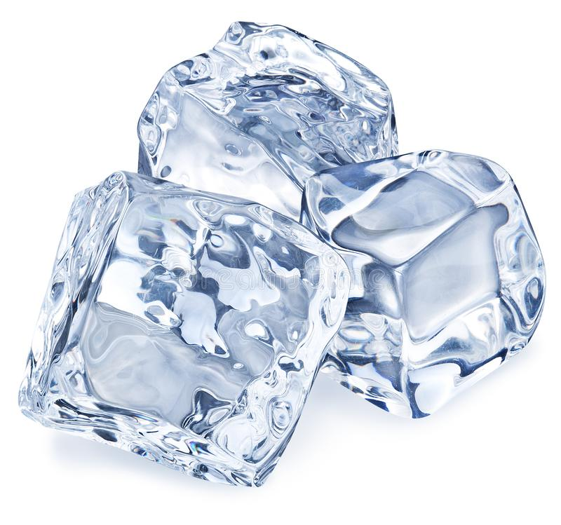 Makro- obrazek trzy kostki lodu Ścinek ścieżka obrazy royalty free