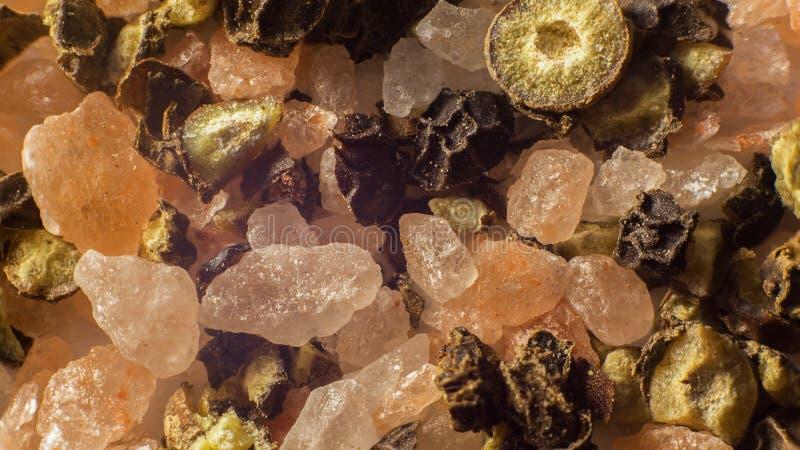 Makro- sól i pieprz zdjęcie royalty free