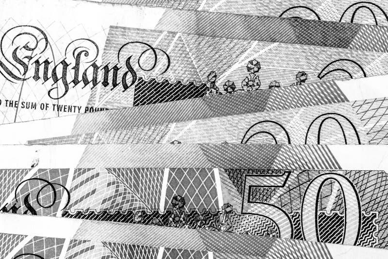 Makro som är nära upp av anmärkningar för brittiskt pund royaltyfri fotografi