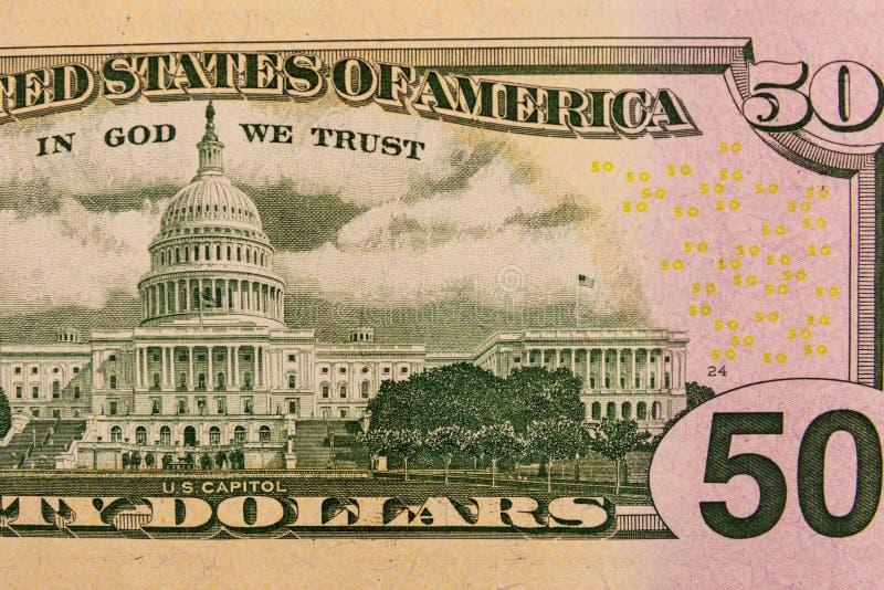 Makro- strzał pięćdziesiąt amerykańskich dolarów rachunków zdjęcia royalty free