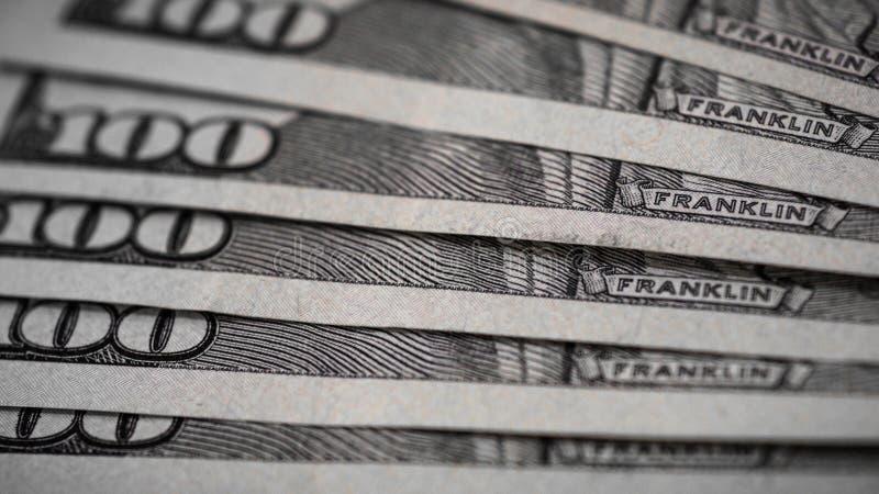 Makro- strzał 100 dolarów Dolary zbliżenia pojęcia Amerykańscy dolary Gotówkowego pieniądze samiec sto Benjamin Franklin ` s port obrazy royalty free