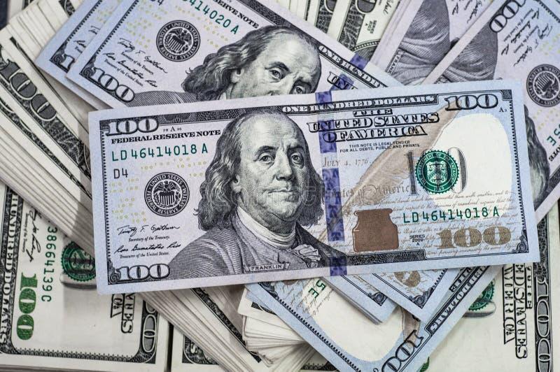 Makro- strzał 100 dolarów Dolary zbliżenia pojęcia Amerykańscy dolary Gotówkowego pieniądze samiec sto Benjamin Franklin ` s port zdjęcie royalty free