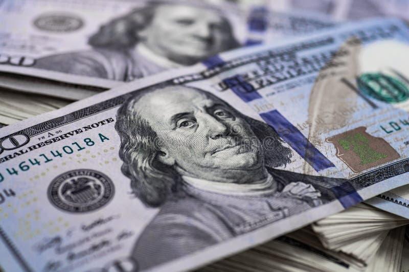 Makro- strzał 100 dolarów Dolary zbliżenia pojęcia Amerykańscy dolary Gotówkowego pieniądze samiec sto Benjamin Franklin ` s port fotografia stock