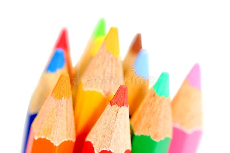 Makro- strzał kolorów ołówki odizolowywający na bielu zdjęcia royalty free