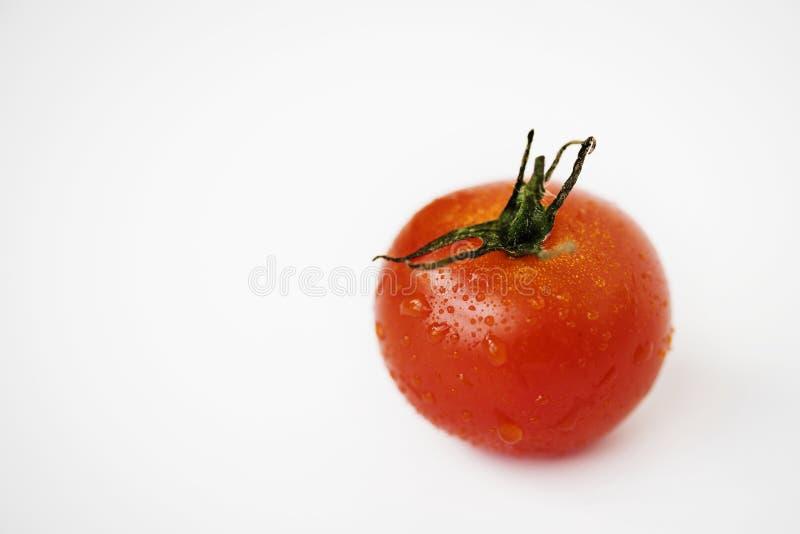Makro- strzał odizolowywający na białym tle świeży pomidor obraz royalty free