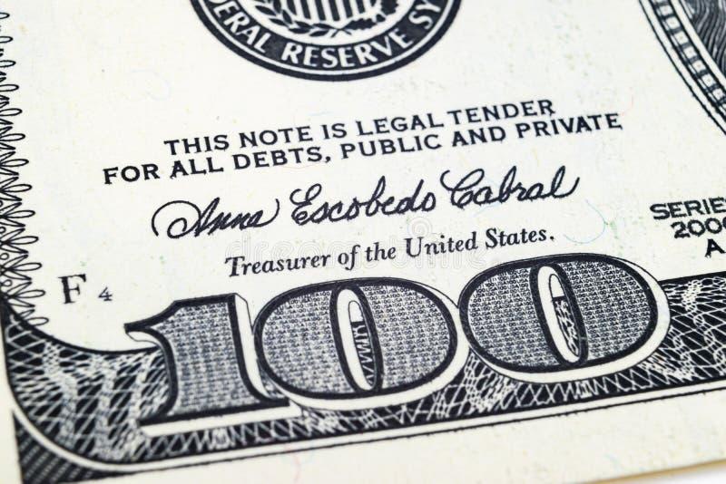 Makro- strzału wizerunek kąt dolarowego rachunku 100 banknotów pieniężny pojęcie sukces Tło 100 dolarowych rachunków h jeden obrazy stock