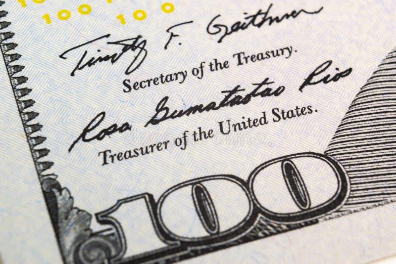 Makro- strzału wizerunek kąt dolarowego rachunku 100 banknotów pieniężny pojęcie sukces Tło 100 dolarowych rachunków h jeden zdjęcia stock