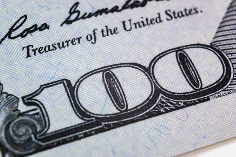 Makro- strzału wizerunek kąt dolarowego rachunku 100 banknotów pieniężny pojęcie sukces Tło 100 dolarowych rachunków h jeden zdjęcie royalty free