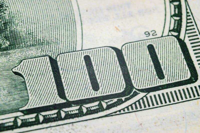 Makro- strzału wizerunek kąt dolarowego rachunku 100 banknotów pieniężny pojęcie sukces Tło 100 dolarowych rachunków h jeden zdjęcia royalty free