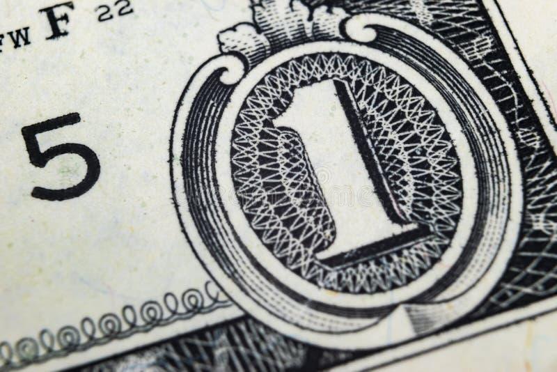 Makro- strzału wizerunek kąt 1 dolarowego rachunku banknoty pieniężny pojęcie sukces Tło 1 dolarowi rachunki Jeden dolla zdjęcia royalty free