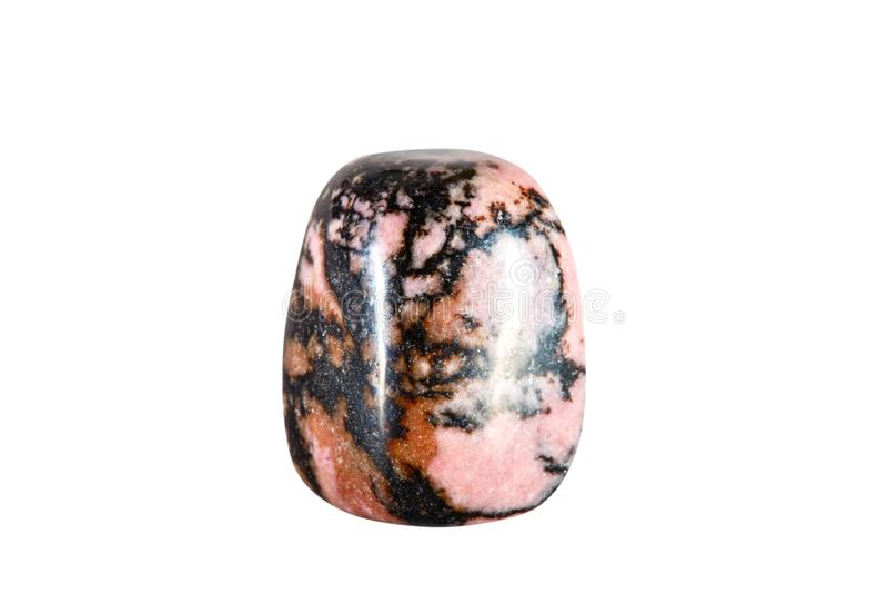 Makro- strzelanina naturalny gemstone Surowa kopalina jest rhodonite, Chiny Na biały tle odosobniony przedmiot fotografia royalty free