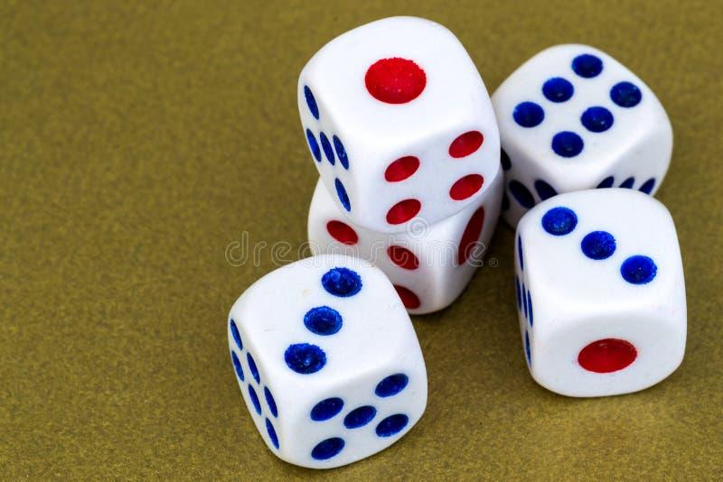 Makro- studio Strzelający Pięć Białych Plastikowych kostka do gry obrazy stock