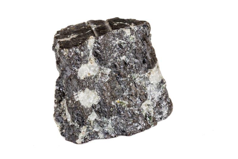 Makro- sylikatowy kopalina kamień w skale na białym tle obraz stock