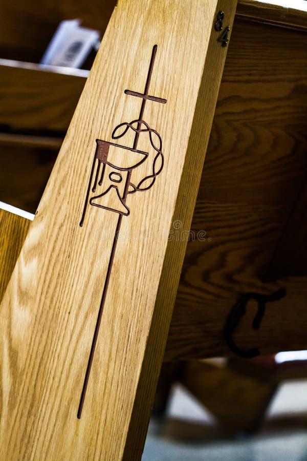 Makro- szczegółu ofa Kościelna ławka obraz stock