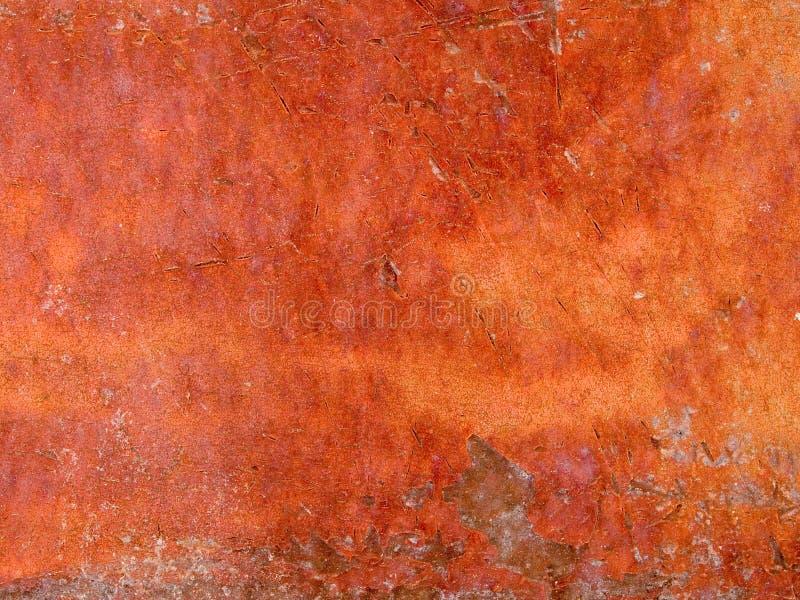 Makro- tekstura obieranie ośniedziała farba - metal - obraz stock