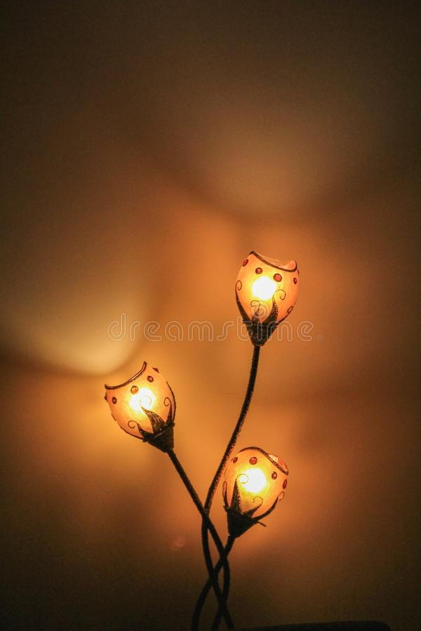 Makro of three light lamp with blurred background. Switzerland royalty free stock photo